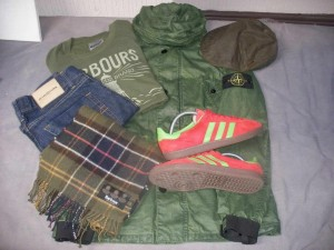Casual Collage mit Stone Island, Barbour, Adidas.